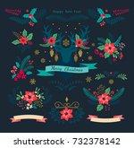 christmas set. christmas... | Shutterstock .eps vector #732378142