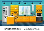 modern kitchen interior | Shutterstock .eps vector #732388918