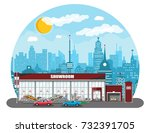 exhibition pavilion  showroom... | Shutterstock .eps vector #732391705