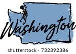 hand drawn washington state... | Shutterstock .eps vector #732392386