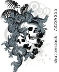 heraldic tropical skull... | Shutterstock .eps vector #73239355