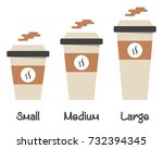 set of different size hot drink ... | Shutterstock .eps vector #732394345