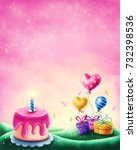 magic landscape with cake and... | Shutterstock . vector #732398536