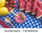 watermelon juice blends healthy ... | Shutterstock . vector #732406426