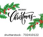 merry christmas greeting card... | Shutterstock .eps vector #732410122