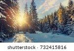 majestic winter landscape....   Shutterstock . vector #732415816
