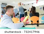 different people sitting in a... | Shutterstock . vector #732417946