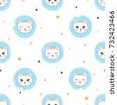 seamless cat princess pattern.... | Shutterstock .eps vector #732423466