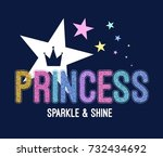 princess slogan with colorful... | Shutterstock .eps vector #732434692