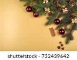 christmas background with fir... | Shutterstock . vector #732439642