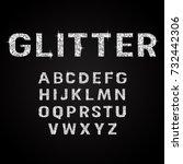 silver glitter alphabet fonts... | Shutterstock .eps vector #732442306