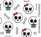 cute sugar skull boy and girl... | Shutterstock .eps vector #732443632
