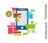 mobile online store  ... | Shutterstock . vector #732444406