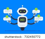 chatbot concept. bot answers... | Shutterstock .eps vector #732450772