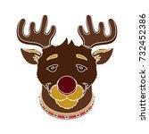 christmas deer icon | Shutterstock .eps vector #732452386
