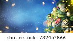 christmas snow background. | Shutterstock . vector #732452866