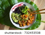 hawaiian salmon poke with black ... | Shutterstock . vector #732453538