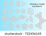 impossible figures  filled... | Shutterstock .eps vector #732456145