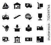 16 vector icon set   boat ... | Shutterstock .eps vector #732459766