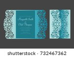 gate fold card with floral... | Shutterstock .eps vector #732467362