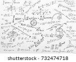 advanced calculus on whiteboard  | Shutterstock . vector #732474718
