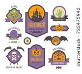 set of halloween badges. flat... | Shutterstock .eps vector #732475942