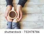 tea in hand. the lovers are...   Shutterstock . vector #732478786