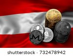 Stack of Bitcoin, Ethereum, Litecoin, Ripple and Monero coins on Austrian flag. Situation of Bitcoin and other cryptocurrencies in Austria concept. 3D Rendering