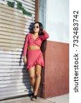 women portrait downtown | Shutterstock . vector #732483742