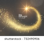 golden magic star with... | Shutterstock .eps vector #732490906