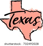 hand drawn texas state design | Shutterstock .eps vector #732492028