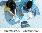 young woman and man working at... | Shutterstock . vector #732502096