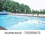 modern swimming pool  outdoors   Shutterstock . vector #732505672