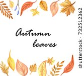 autumn leaves watercolor | Shutterstock . vector #732512362