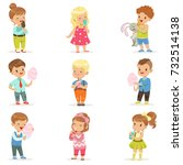 set of little boys and girls... | Shutterstock .eps vector #732514138