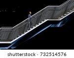 solitary man walking up... | Shutterstock . vector #732514576
