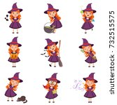 little girl witch set wearing... | Shutterstock .eps vector #732515575