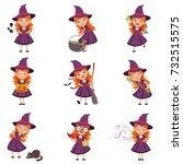 little girl witch set wearing... | Shutterstock .eps vector #732515575
