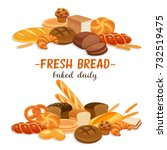 banner with bread products. rye ... | Shutterstock .eps vector #732519475