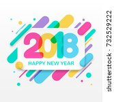 2018 happy new year greeting... | Shutterstock .eps vector #732529222
