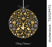 christmas ball. gold pattern.... | Shutterstock .eps vector #732529972
