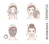 steps how to apply facial mask. ... | Shutterstock .eps vector #732534712