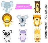 a vector illustration of wild... | Shutterstock .eps vector #732536302