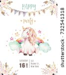 isolated cute watercolor... | Shutterstock . vector #732541318