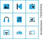 media colorful icons set.... | Shutterstock .eps vector #732542926