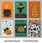 vector collection of halloween... | Shutterstock .eps vector #732543106
