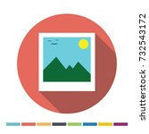day time photo flat icon with... | Shutterstock .eps vector #732543172