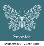 silhouette of a butterfly made... | Shutterstock .eps vector #732546886