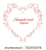 vector heart shaped floral... | Shutterstock .eps vector #732553378