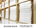 fresh white hotel towels folded ... | Shutterstock . vector #732553675
